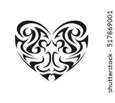 tribal heart shape | Shutterstock .eps vector #517869001