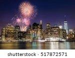 firework over manhattan island... | Shutterstock . vector #517872571