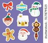 set of cute christmas stickers... | Shutterstock .eps vector #517879525