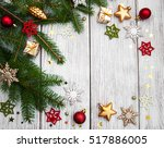christmas fir tree with... | Shutterstock . vector #517886005
