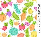 vegetables on color pseudo... | Shutterstock .eps vector #517892341