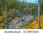 waterfall in rocks. rocks and... | Shutterstock . vector #517897654