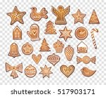 set of 25 realistic gingerbread ... | Shutterstock .eps vector #517903171