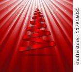 christmas tree red ribbon shape ...   Shutterstock .eps vector #517916035