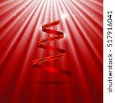 christmas tree red ribbon shape ...   Shutterstock .eps vector #517916041