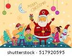 vector illustration of santa... | Shutterstock .eps vector #517920595