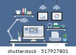modern desk with computer set ... | Shutterstock .eps vector #517927801