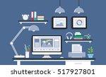 modern desk with computer set ... | Shutterstock .eps vector #517927801