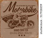 handmade font motorcycle race t ... | Shutterstock .eps vector #517928359