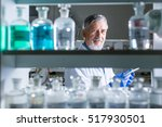 senior male researcher carrying ... | Shutterstock . vector #517930501