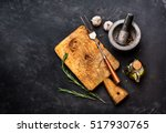 cutting board and spice for...   Shutterstock . vector #517930765