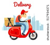 delivery courier ride scooter... | Shutterstock . vector #517934371