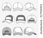 baseball cap front back and... | Shutterstock . vector #517934551
