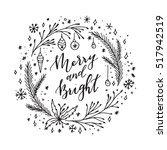 vector hand written christmas... | Shutterstock .eps vector #517942519