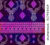 ornament deer vector pattern.... | Shutterstock .eps vector #517955419