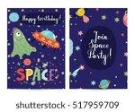 happy birthday cartoon greeting ... | Shutterstock .eps vector #517959709