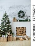 design room with christmas tree ... | Shutterstock . vector #517962349