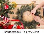 christmas wreath decoration... | Shutterstock . vector #517970245