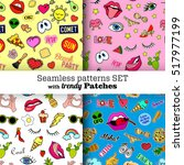 seamless patterns set with... | Shutterstock .eps vector #517977199