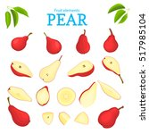 vector set of red fruits. pear...   Shutterstock .eps vector #517985104
