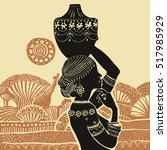 beautiful black woman.african...   Shutterstock .eps vector #517985929