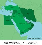 middle east map green | Shutterstock .eps vector #517990861