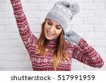 Happy Woman In Winter Clothes...