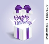 opened realistic gift box with... | Shutterstock .eps vector #518001679