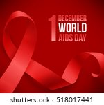 realistic red ribbon  world... | Shutterstock .eps vector #518017441