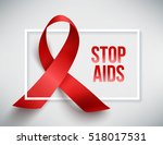 realistic red ribbon  world... | Shutterstock .eps vector #518017531