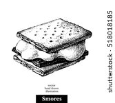 hand drawn sketch smores wafer... | Shutterstock .eps vector #518018185