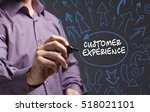 Small photo of Technology, internet, business and marketing. Young business man writing word: customer experience