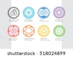 chakras set with om   ayurveda  ... | Shutterstock .eps vector #518024899