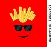happy french fries on a red... | Shutterstock .eps vector #518031601