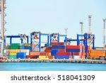 port cargo crane and container  ... | Shutterstock . vector #518041309
