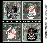 interesting cat stories | Shutterstock .eps vector #518042809