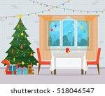 christmas room interior....   Shutterstock .eps vector #518046547
