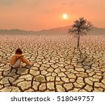 child sit on cracked earth in...   Shutterstock . vector #518049757