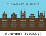 temples of world different... | Shutterstock .eps vector #518053714