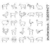 farm animal thin line... | Shutterstock .eps vector #518059477