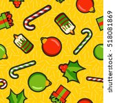 christmas seamless pattern... | Shutterstock . vector #518081869