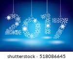 happy new year 2017 greeting... | Shutterstock .eps vector #518086645