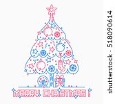 merry christmas three line... | Shutterstock . vector #518090614