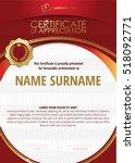 template of certificate of... | Shutterstock .eps vector #518092771