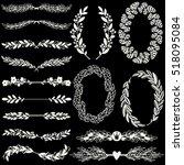 set of handdrawn laurels and...   Shutterstock .eps vector #518095084