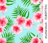 tropical pattern with... | Shutterstock . vector #518097541