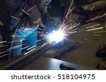 metal welding with sparks and... | Shutterstock . vector #518104975