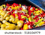 baked potatoes and colorful... | Shutterstock . vector #518106979