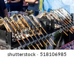 smoked trout fish in a summer... | Shutterstock . vector #518106985
