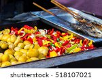 fresh trout fish  baked... | Shutterstock . vector #518107021